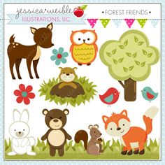 Forest Friends Cute Digital Clipart - Commercial Use OK - Woodland Animals Clipart, Forest Animals Graphics, Forest Animal Clipart by JWIllustrations on Etsy https://www.etsy.com/listing/51404232/forest-friends-cute-digital-clipart
