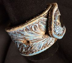 Trendy Upcycled Leather Belt Cuff Bracelet with Beautiful Turquoise