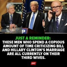 These men who spend a copious amount of time criticizing Bill & Hillary Clinton's marriage are all currently on their third wives.