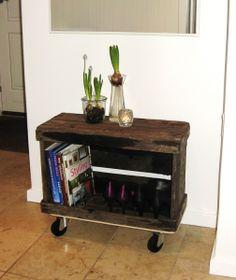 æblekasse-på-møbelhund #frugtkasse med hjul