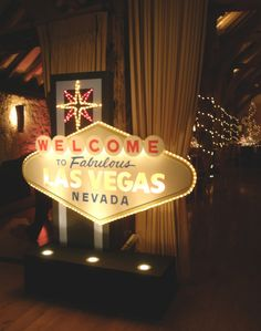 Bury Court Barn Surrey - Welcome to Las Vegas illuminated sign by www.stressfreehire.com #venuetransformers
