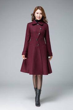 retro wool coat coat jacket wine red wool coat wool coat warm winter coat asymmetrical coat womens coat midi coat winter coat by xiaolizi Winter Coats Women, Coats For Women, Clothes For Women, Hijab Fashion, Fashion Dresses, Mantel Outfit, Red Wool Coat, Asymmetrical Coat, Mode Mantel