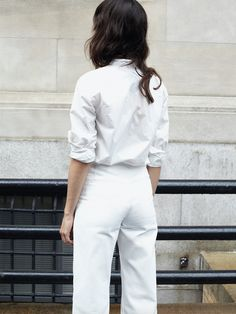 MARTYNA BUTTON DOWN SHIRT and HIGH-WAIST FLARE in white - Apiece Apart