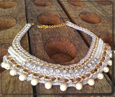 """Vanilla"", crocheted statement necklace"