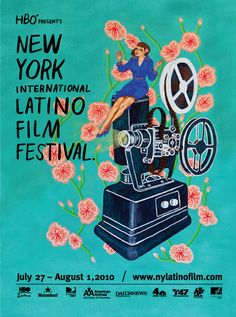 New York International Latino Film Festival Poster. San Diego Film Festival, Latino Film Festival, Festival Posters, Art Festival, Film Poster Design, People Art, Illustrations, Vintage Posters, Album Covers