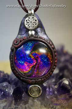 State Of Flux Pendant -Reflective glass silver spiral polymer clay fantasy psychedelic trippy colorful psytrance festival crazy eye catcher  by ChaNoJaJewelry