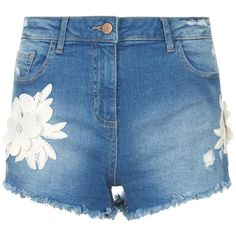 Parisian Blue 3D Floral Embroidered Patch Frayed Denim Shorts (115 BRL) ❤ liked on Polyvore featuring shorts, flower print shorts, short jean shorts, blue floral shorts, blue jean short shorts and blue shorts