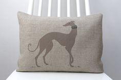 Greyhound decorative cushion, Hand printed dog decorative with dog collar 13x17inch cushion.