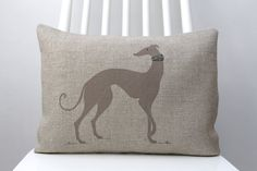 Greyhound decorative cushion, Hand printed dog decorative with dog collar 13x17inch cushion.
