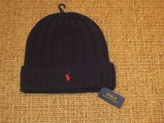 ea79cfe3389dd Polo Ralph Lauren Skull Beanie Hat Wool Winter Cap Navy Blue New NWT   PoloRalphLauren