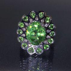 Certified 18k White gold Natural Green Tsavorite Garnet VS-1 Diamond ring 8.87ct #CocktailCluster