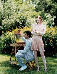 Karen Elson and Johnny Zander. Photographed by Arthur Elgort for Vogue, November 2003.