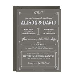 Bistro Slate Wedding Invitation - Alison & David