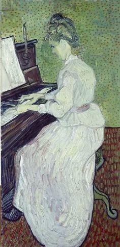 Ritratto di Marguerite Gachet al pianoforte di Vincent Van Gogh 1890.