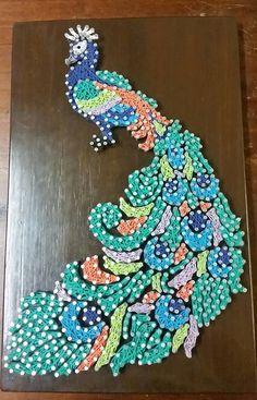 Colourful Peacock String Art Wall Art by ShazzArtz on Etsy