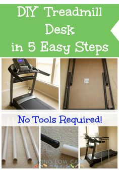 DIY Treadmill Desk in 5 Easy Steps! No tools required!   #fitness #diy