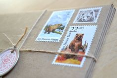 Rustic bear stationery set features recycled brown kraft envelopes adorned with 58 cents worth of vintage bear postage, all ready to mail first class. On the front of each card is mounted a vintage bear postage stamp, beautifully hand cancelled from a far off country.