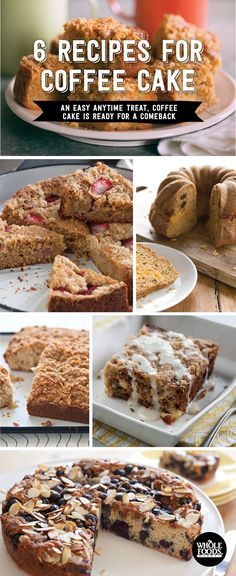 Delicious recipes for coffee cake! In this collection you'll find: Blueberry Coffee Cake, Hummingbird Coffee Cake, Strawberry-Lemon Olive Oil Coffee Cake, Carrot-Almond Coffee Cake, Cherry Orange Pecan Coffee Cake and Coconut Crumb Cake!