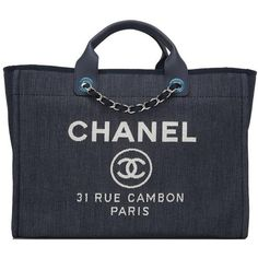 Preowned Chanel Dark Blue Denim Large Deauville Shopping Tote Bag ($4,595) ❤ liked on Polyvore featuring bags, handbags, tote bags, chanel, blue, chanel handbags, dark blue handbag, denim tote bag, top handle handbags and blue purse