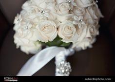 White rose bouquet, rhinestone broach, bridal bouquet, bride bouquet, rhinestone, white ribbon