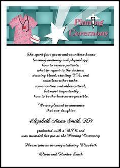 personalize your exclusive nurse caduceus pinning ceremony invitation designs and school announcements for nursing school graduation commencement at InvitationsByU, such as card 7612IBU-NR, with lots of discounts and promos