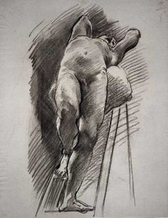 John Singer Sargent's Male Nude Leaning Back on a Ladder