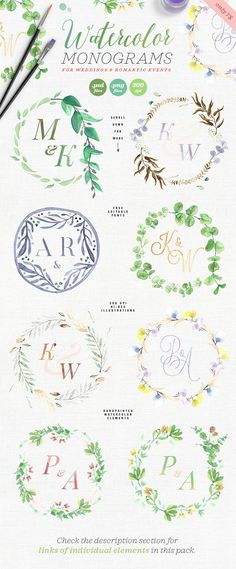 8 Watercolor Wedding Monograms I by The Wedding Shop on @creativemarket