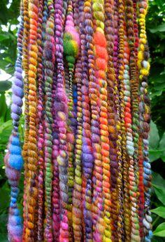 Rainbow Dream Handspun Art Yarn Coily Ply by RainbowTwistShop