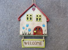 Pottery house wall hanging Welcome sign ceramic house ornament clay wall hanging small building fairy home handmade ceramics and pottery