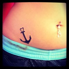 Small Heart Tattoos | Small Heart Anchor Tattoo On Hip For Girls