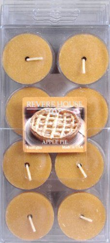 Candle-Lite Revere House 8-Pack Tealights, Apple Pie