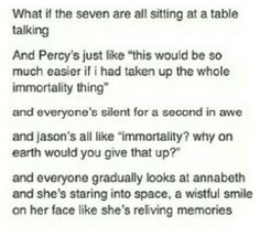 Percy gave up immortality for Annabeth