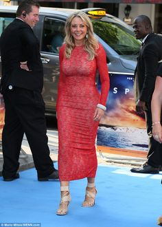 Ultra glamorous: Carol Vorderman, flaunted her hour glass curves in a skin-tight red lace gown at the Spitfire premiere in London on Monday Sexy Older Women, Sexy Women, Carol Vordeman, Red Lace Gown, Bollywood, Tv Girls, Jolie Lingerie, Skin Tight, Gorgeous Women