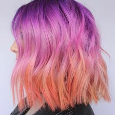 My favorite pastel hair transformation and how to get a dreamy sherbet color melt like mine. Hair Dye Colors, Cool Hair Color, Pastel Hair Colors, Coral Hair, Orange And Pink Hair, Peach Hair, Lilac Hair, Blue Hair, Pulp Riot Hair Color