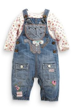 Cat Denim Dungarees And Body Suit Set by Next Cute Baby Boy Outfits, Cool Baby Clothes, Toddler Outfits, Kids Outfits, Baby Dungarees, Denim Dungarees, Denim Fashion, Kids Fashion, Baby Girl Jackets