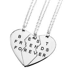 """3Pcs Set Fashion Friendship Jewelry Vintage Sliver Broken Heart 3Parts """"Best Friends Forever"""" Necklaces & Pendants For Women/Men"""