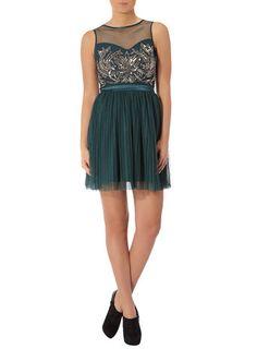 Teal embellished prom dress from Dorothy Perkins