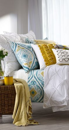 Grace Bedding Collection...minus the eyeglass pillow, pretty colors I would not have thought to mix with white, but the effect is striking