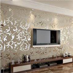 Genuine victorian glitter wallpaper silver background wall wallpaper pvc roll wall papers home decor for living room & bedroom Living Room Tv, Home And Living, Cream And Gold Living Room, Wallpaper For Living Room, Modern Living, Hall Colour, Romantic Home Decor, Living Room Designs, Bedroom Decor