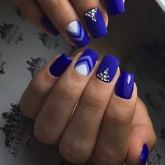 Buff and Polish, Square, matte and Royal Blue. With angled moons in...
