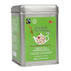 English Tea Shop Green Tea Pomegranate Fairtrade and Organic Loose Tea 100 g.