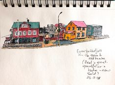 Ink and wash of a small town outside Reykjavík, Iceland. Colours of houses stand in stark contrast to grey winter skies. Weekend Artist, Winter Sky, Small Towns, House Colors, Red Green, Iceland, The Outsiders, Contrast, Houses
