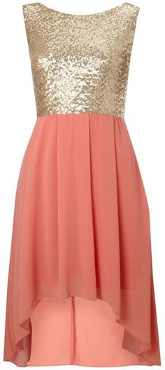 Tfnc Sequin Sarah High Low Dress in Pink (coral)