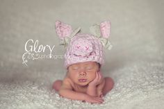 Baby Girl Pig Hat Photo prop size newborn by LandyKnits on Etsy, $28.00