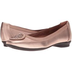 Clarks Candra Blush (Gold Metallic Leather) Women's  Shoes ($53) ❤ liked on Polyvore featuring shoes, flats, gold, metallic gold flats, clarks footwear, clarks flats, metallic gold shoes and flat slip on shoes