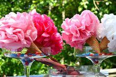 tissue paper flower ice cream cones