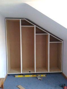 Built-in storage for attic bedroom - Kleiderschrank für dachschräge Eaves Storage, Loft Storage, Bedroom Storage, Playroom Storage, Wardrobe Storage, Wall Storage, Diy Storage, Storage Ideas, Attic Wardrobe