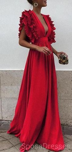 da411f5203d Unique V Neck Backless Chiffon Evening Prom Dresses