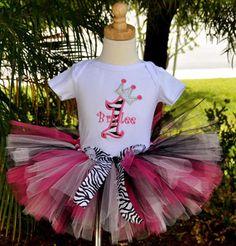 Girls Birthday Zebra Diva Princess Party Tutu Set