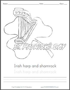 Saint Patricks Day Shamrock Coloring Page for Kids with